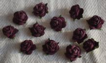 50 TYRIAN PURPLE Mulberry Paper Roses (only flower head)